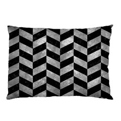 Chevron1 Black Marble & Gray Metal 2 Pillow Case (two Sides) by trendistuff