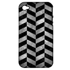 Chevron1 Black Marble & Gray Metal 2 Apple Iphone 4/4s Hardshell Case (pc+silicone) by trendistuff