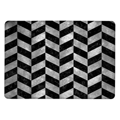 Chevron1 Black Marble & Gray Metal 2 Samsung Galaxy Tab 10 1  P7500 Flip Case by trendistuff