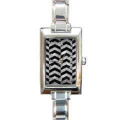 Chevron2 Black Marble & Gray Metal 2 Rectangle Italian Charm Watch by trendistuff