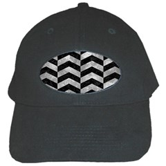 Chevron2 Black Marble & Gray Metal 2 Black Cap by trendistuff