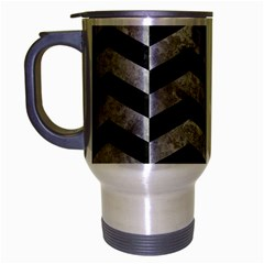 Chevron2 Black Marble & Gray Metal 2 Travel Mug (silver Gray) by trendistuff