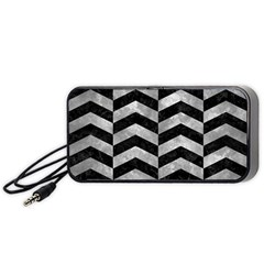 Chevron2 Black Marble & Gray Metal 2 Portable Speaker by trendistuff