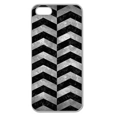 Chevron2 Black Marble & Gray Metal 2 Apple Seamless Iphone 5 Case (clear) by trendistuff