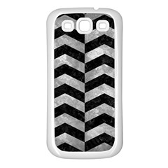 Chevron2 Black Marble & Gray Metal 2 Samsung Galaxy S3 Back Case (white) by trendistuff
