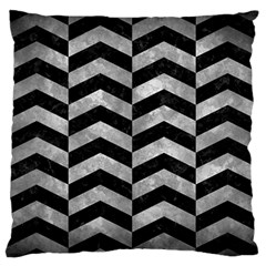 Chevron2 Black Marble & Gray Metal 2 Large Flano Cushion Case (two Sides) by trendistuff