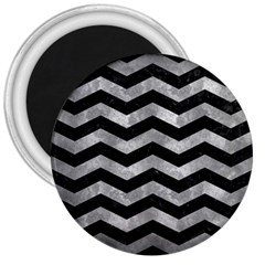 Chevron3 Black Marble & Gray Metal 2 3  Magnets by trendistuff