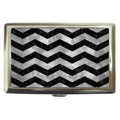 Chevron3 Black Marble & Gray Metal 2 Cigarette Money Cases by trendistuff
