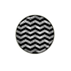 Chevron3 Black Marble & Gray Metal 2 Hat Clip Ball Marker (4 Pack) by trendistuff