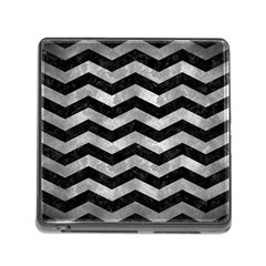Chevron3 Black Marble & Gray Metal 2 Memory Card Reader (square) by trendistuff
