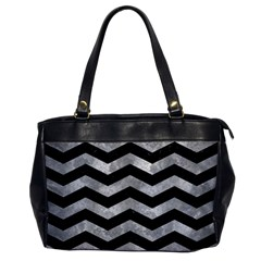 Chevron3 Black Marble & Gray Metal 2 Office Handbags by trendistuff