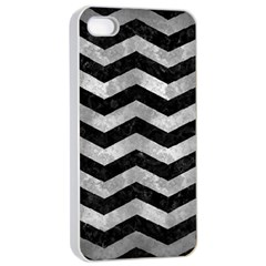 Chevron3 Black Marble & Gray Metal 2 Apple Iphone 4/4s Seamless Case (white) by trendistuff