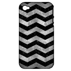 Chevron3 Black Marble & Gray Metal 2 Apple Iphone 4/4s Hardshell Case (pc+silicone) by trendistuff