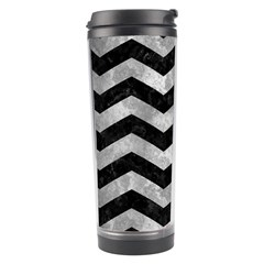 Chevron3 Black Marble & Gray Metal 2 Travel Tumbler by trendistuff