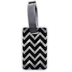 Chevron9 Black Marble & Gray Metal 2 Luggage Tags (two Sides) by trendistuff