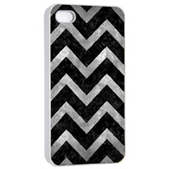 Chevron9 Black Marble & Gray Metal 2 Apple Iphone 4/4s Seamless Case (white) by trendistuff
