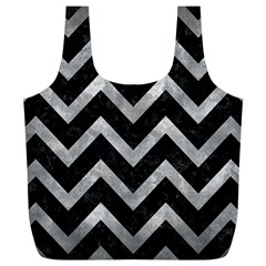 Chevron9 Black Marble & Gray Metal 2 Full Print Recycle Bags (l)  by trendistuff