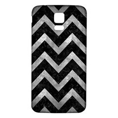 Chevron9 Black Marble & Gray Metal 2 Samsung Galaxy S5 Back Case (white) by trendistuff