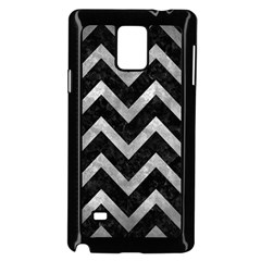 Chevron9 Black Marble & Gray Metal 2 Samsung Galaxy Note 4 Case (black) by trendistuff