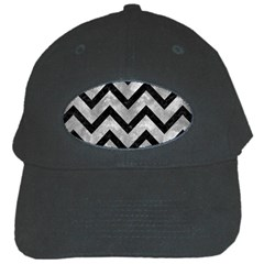 Chevron9 Black Marble & Gray Metal 2 (r) Black Cap by trendistuff