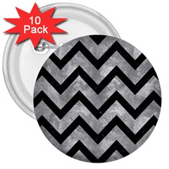 Chevron9 Black Marble & Gray Metal 2 (r) 3  Buttons (10 Pack)  by trendistuff