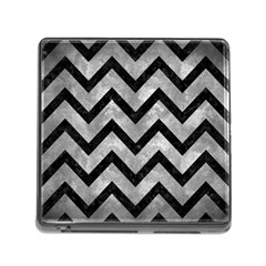 Chevron9 Black Marble & Gray Metal 2 (r) Memory Card Reader (square) by trendistuff