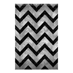 Chevron9 Black Marble & Gray Metal 2 (r) Shower Curtain 48  X 72  (small)  by trendistuff