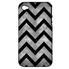 Chevron9 Black Marble & Gray Metal 2 (r) Apple Iphone 4/4s Hardshell Case (pc+silicone) by trendistuff