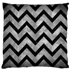 Chevron9 Black Marble & Gray Metal 2 (r) Large Flano Cushion Case (one Side) by trendistuff