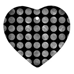 Circles1 Black Marble & Gray Metal 2 Ornament (heart) by trendistuff