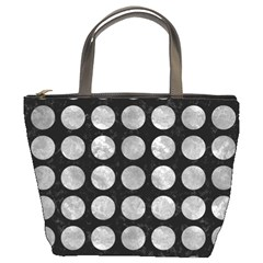 Circles1 Black Marble & Gray Metal 2 Bucket Bags by trendistuff