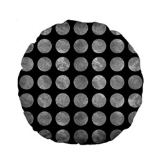 Circles1 Black Marble & Gray Metal 2 Standard 15  Premium Round Cushions by trendistuff