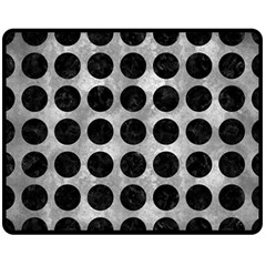 Circles1 Black Marble & Gray Metal 2 (r) Double Sided Fleece Blanket (medium)  by trendistuff