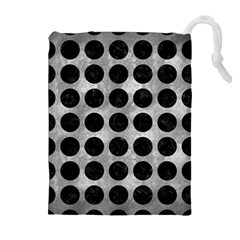 Circles1 Black Marble & Gray Metal 2 (r) Drawstring Pouches (extra Large) by trendistuff