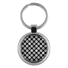 Circles2 Black Marble & Gray Metal 2 Key Chains (round)  by trendistuff