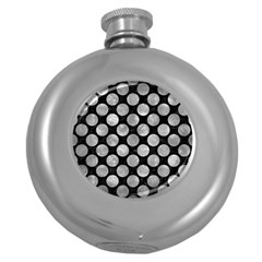 Circles2 Black Marble & Gray Metal 2 Round Hip Flask (5 Oz) by trendistuff