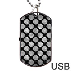 Circles2 Black Marble & Gray Metal 2 Dog Tag Usb Flash (one Side) by trendistuff
