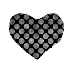 Circles2 Black Marble & Gray Metal 2 Standard 16  Premium Heart Shape Cushions by trendistuff