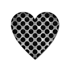 Circles2 Black Marble & Gray Metal 2 (r) Heart Magnet by trendistuff