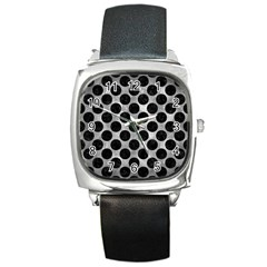 Circles2 Black Marble & Gray Metal 2 (r) Square Metal Watch by trendistuff