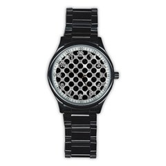 Circles2 Black Marble & Gray Metal 2 (r) Stainless Steel Round Watch by trendistuff