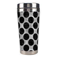 Circles2 Black Marble & Gray Metal 2 (r) Stainless Steel Travel Tumblers by trendistuff