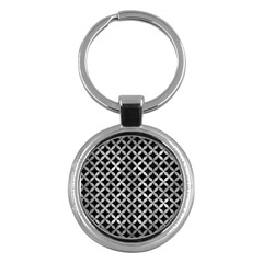 Circles3 Black Marble & Gray Metal 2 Key Chains (round)  by trendistuff