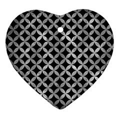 Circles3 Black Marble & Gray Metal 2 Heart Ornament (two Sides) by trendistuff