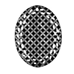 Circles3 Black Marble & Gray Metal 2 Oval Filigree Ornament (two Sides) by trendistuff