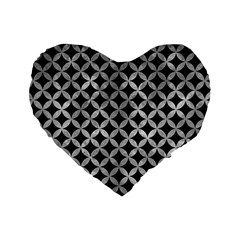 Circles3 Black Marble & Gray Metal 2 Standard 16  Premium Heart Shape Cushions by trendistuff