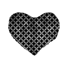 Circles3 Black Marble & Gray Metal 2 Standard 16  Premium Flano Heart Shape Cushions by trendistuff