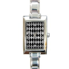 Diamond1 Black Marble & Gray Metal 2 Rectangle Italian Charm Watch by trendistuff
