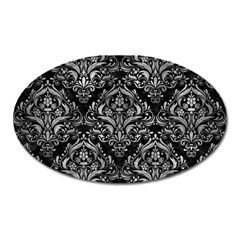 Damask1 Black Marble & Gray Metal 2 Oval Magnet by trendistuff