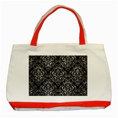Damask1 Black Marble & Gray Metal 2 Classic Tote Bag (red) by trendistuff
